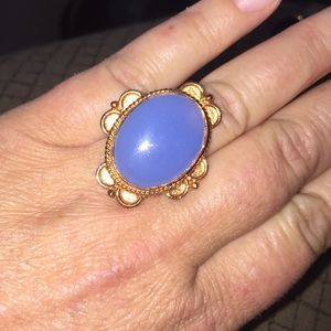 {FINAL PRICE} Copper Blue Chalcedony Cabochon Ring